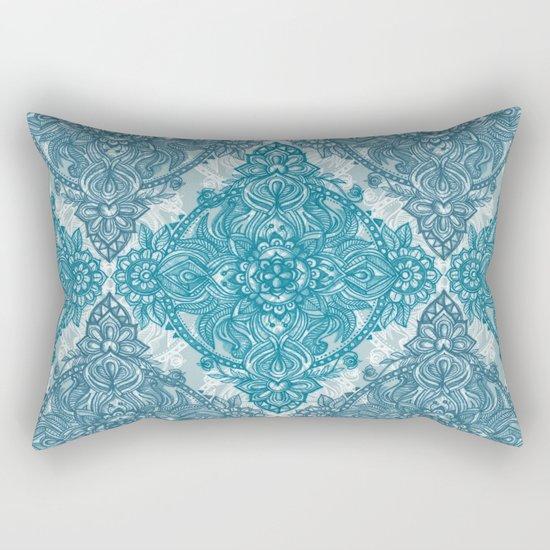 Teal & White Lace Pencil Doodle Rectangular Pillow