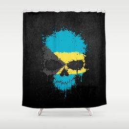 Flag of Bahamas on a Chaotic Splatter Skull Shower Curtain