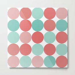 Cheerful Dots in Coral Pink and Aqua. Cute Minimalist Dot Pattern in Cheerful Colours Metal Print