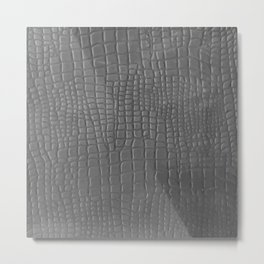 Gray faux leather texture crocodile pattern Metal Print
