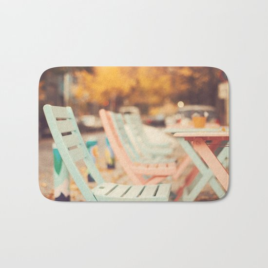 Dream Autumn (Pink and blue coffee shop chairs on retro and vintage fall) Bath Mat