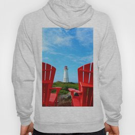 Lighthouse and chairs in Red White and Blue Hoody