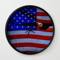 america Wall Clocks featuring America!!  by Alaskan Momma Bear
