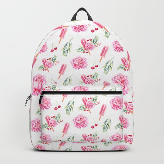 Tropical Chill Rose Pattern Backpack
