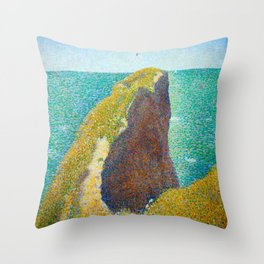 Le Bec du Hoc Grandcamp Georges Seurat - 1885 Impressionism Modern Populism Oil Painting Throw Pillow