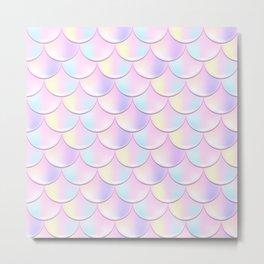 Pastel Pink Mermaid Pattern, Holographic Fish Scale Print Metal Print