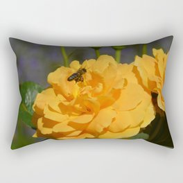 Bee on an orange rose Rectangular Pillow