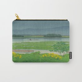 Kawase Hasui Vintage Japanese Woodblock Print Flooded Asian Rice Field Mountain Parallax Landscape Carry-All Pouch