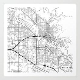 Boise Map, USA - Black and White Art Print