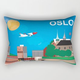 Oslo, Norway - Skyline Illustration by Loose Petals Rectangular Pillow