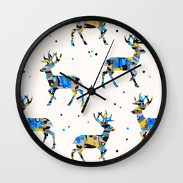 Patched Stag Deer Silhouette Wall Clock