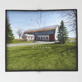 Barn & Geese - Welcome Throw Blanket