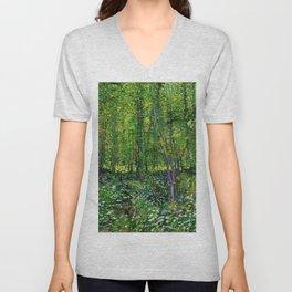 Vincent Van Gogh Trees & Underwood Unisex V-Neck