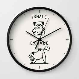 Inhale Exhale Pug Wall Clock