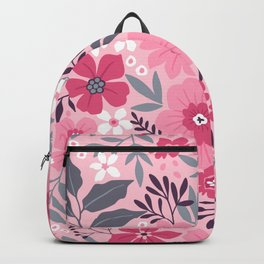 Fantasy floral pattern with light pink and white flowers and leaves on a pale pink background.  Modern floral background. Backpack