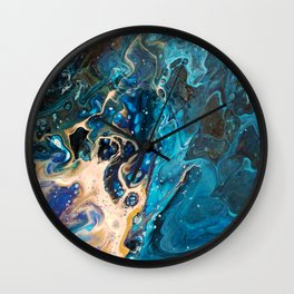 Midnight Blue + Molten Gold Abstract Fluid Marble Painting Wall Clock