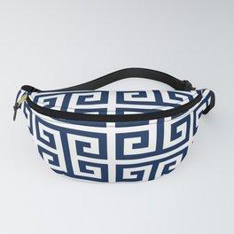 Dark Navy Blue and White Greek Key Pattern Fanny Pack