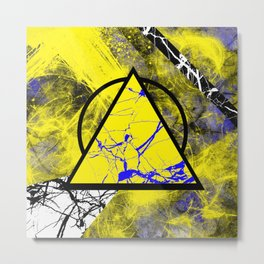 Night And Day - Blue And Yellow, Black And White, Abstract, Geometric, Marble Artwork Metal Print