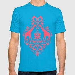 Giraffe Damask Coral T-shirt