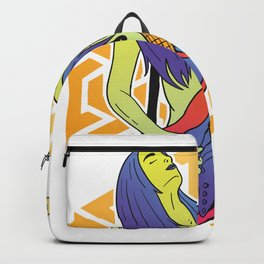 Woman with bass guitar Backpack