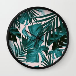 Tropical Jungle Leaves Pattern #3 #tropical #decor #art #society6 Wall Clock