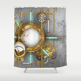 Steampunk Round Banner with Pressure Gauge Shower Curtain