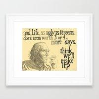 bukowski Framed Art Prints featuring Bukowski by Derik Hefner