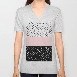 Pink white black watercolor polka dots Unisex V-Neck