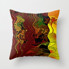 Palm and mysterious shape Throw Pillow