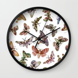 A Multitude Of Moths - Colorful Moth Pattern Wall Clock