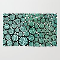 trees Area & Throw Rugs featuring Blooming Trees by Pom Graphic Design
