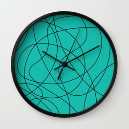 Lines Turquoise Wall Clock