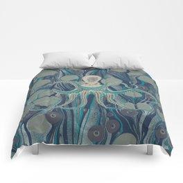 Ocean Vintage Octopus Surf Gold Summer Comforters