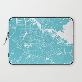 Amsterdam Turquoise on White Street Map Laptop Sleeve