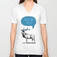 pun V-neck T-shirts featuring Deer Pun by Zeke Tucker