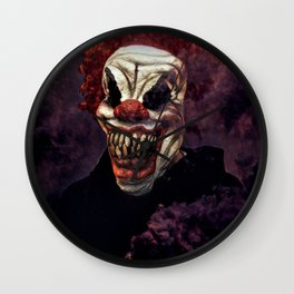Scary Clown Purple Smoke Wall Clock