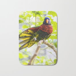 Rainbow Lorikeet Stretching His Wing Bath Mat