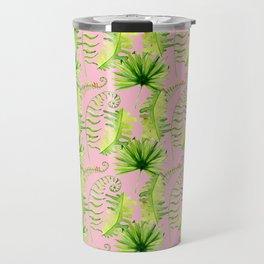 Pastel pink green hand painted tropical leaves pattern Travel Mug