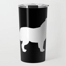 Border Collie black and white minimal silhouette dog silhouettes dog breeds portrait Travel Mug