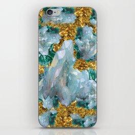 WHITE QUARTZ  CRYSTALS & BLUE-GREEN AQUAMARINE iPhone Skin