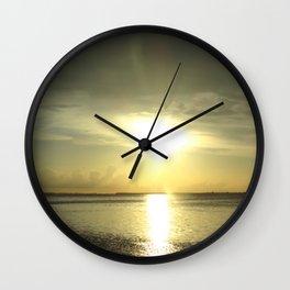 Green Sunset Wall Clock