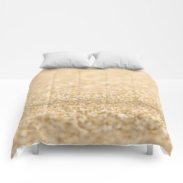 Beautiful champagne gold glitter sparkles Comforters