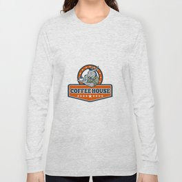 Army Sergeant Donkey Coffee House Cartoon Long Sleeve T-shirt