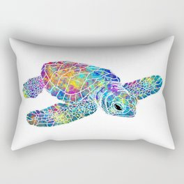 colorful Sea Turtle Rectangular Pillow