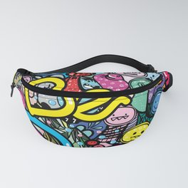 Be Happy doodle monster Fanny Pack