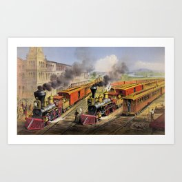 American Railroad Scene (Currier & Ives) Art Print