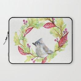Bird in Christmas Wreath Laptop Sleeve