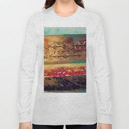 Snowy Sunlit Red Garden Bench by CheyAnne Sexton Long Sleeve T-shirt