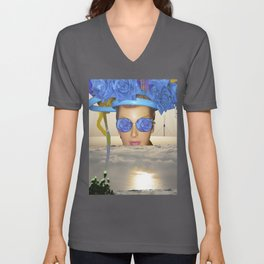 Submision 101 - Artificial Connection: blue roses with green. Unisex V-Neck
