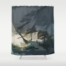 Old Sailboat Shower Curtain